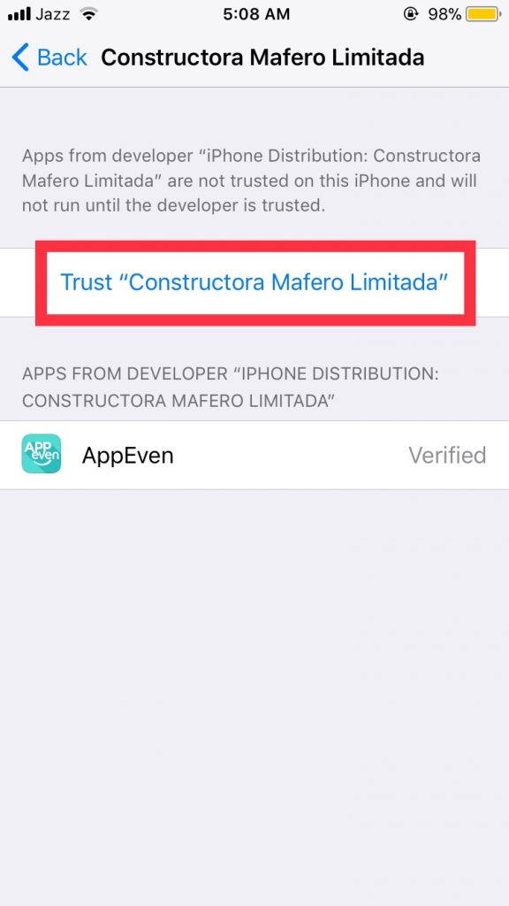app even trust options